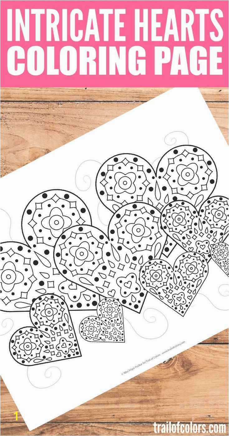 Free Printable Coloring Pages Valentine Heart Intricate Hearts Coloring Page