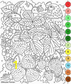 Nicole s Free Coloring Pages COLOR BY NUMBERS STRAWBERRIES and RASPBERRIES Coloring pages Strawberry
