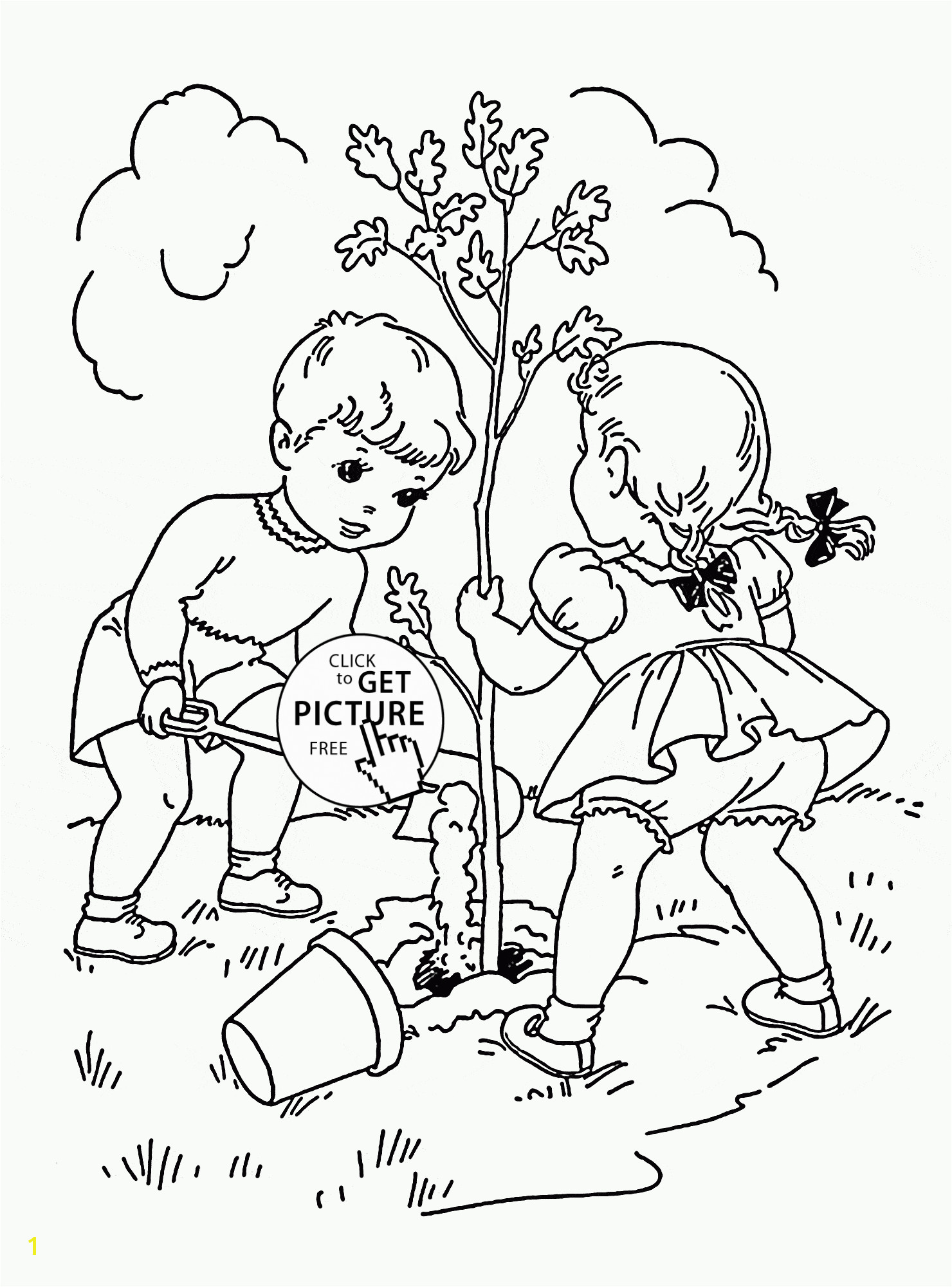 Children Plant Tree coloring page for kids spring coloring pages printables free Wuppsy