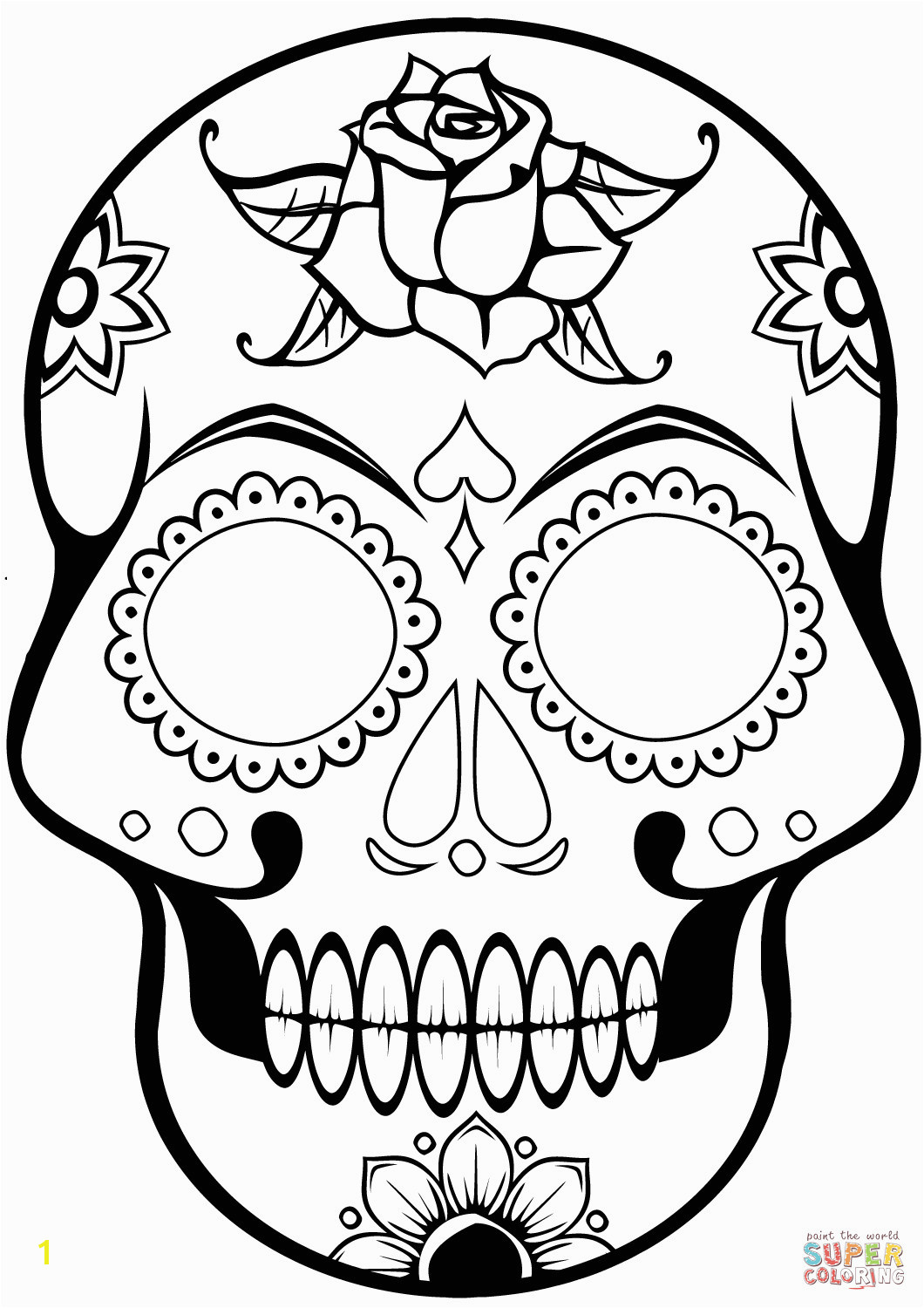 Approved Sugar Skulls Coloring Pages Skull Page Free Printable For Endearing