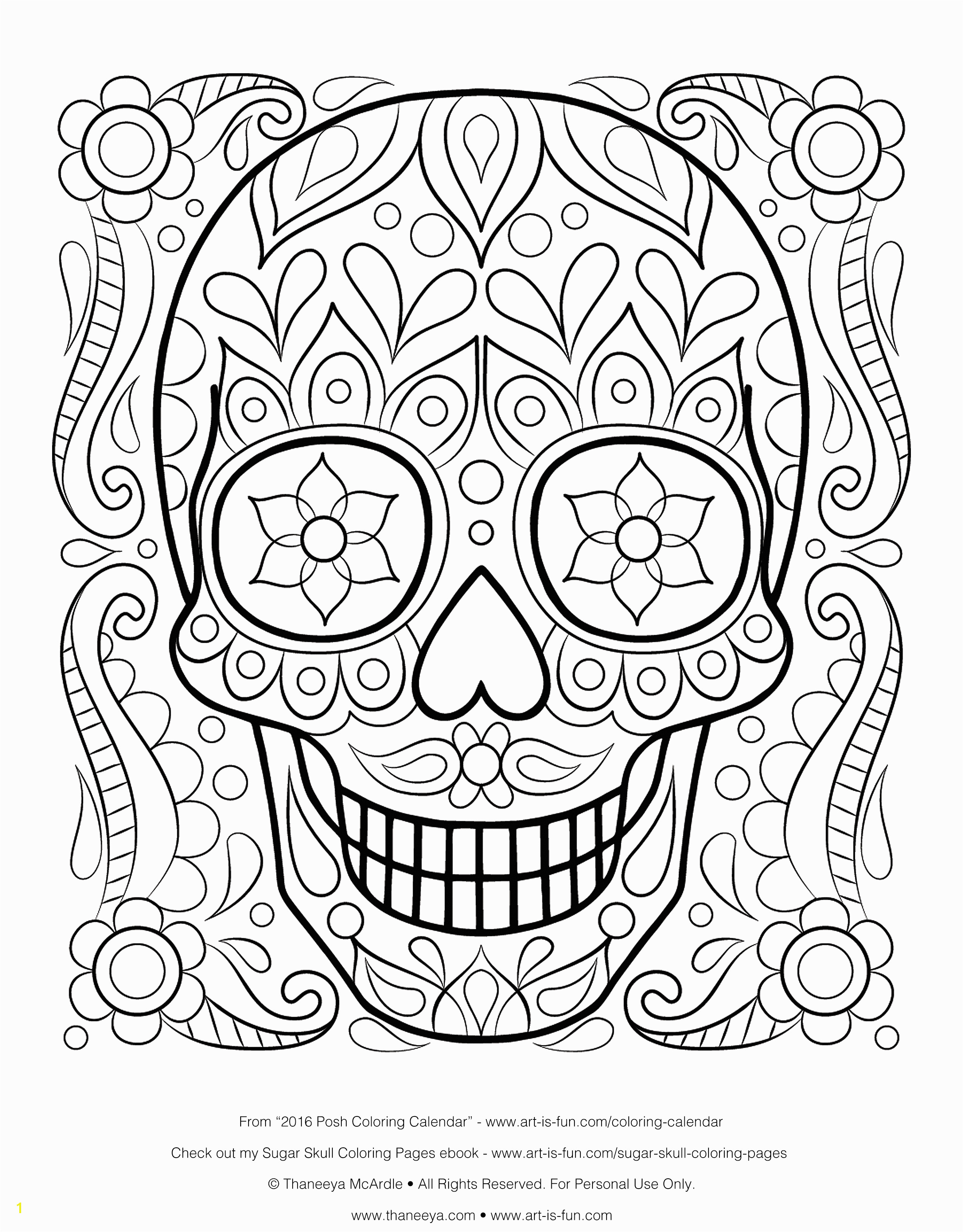 Free Printable Sugar Skull Coloring Pages Free Sugar Skull Coloring Page Printable Day Of the Dead Coloring