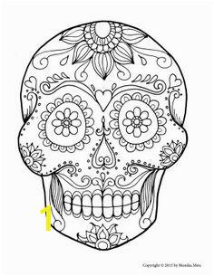 Free Printable Sugar Skull Coloring Pages for adults or kids Dia de los muertos Sugar