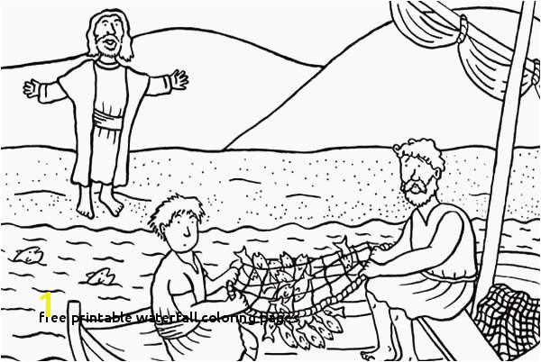 Free Printable Waterfall Coloring Pages Fish Coloring Pages for Kids Disciples Od Jesus Christ Catching Fish