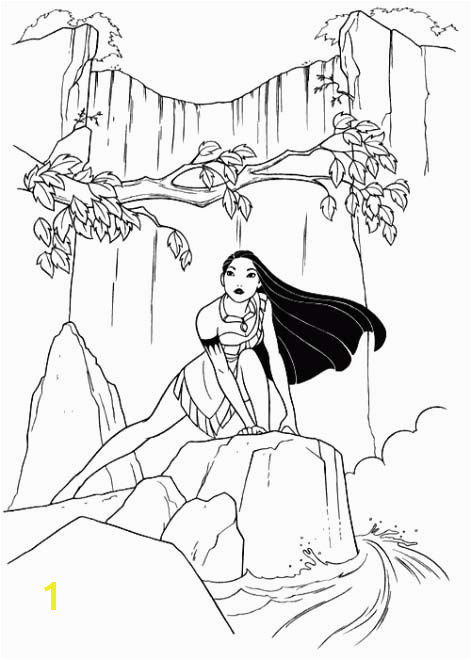 s Princess Pocahontas Waterfall Coloring Pages