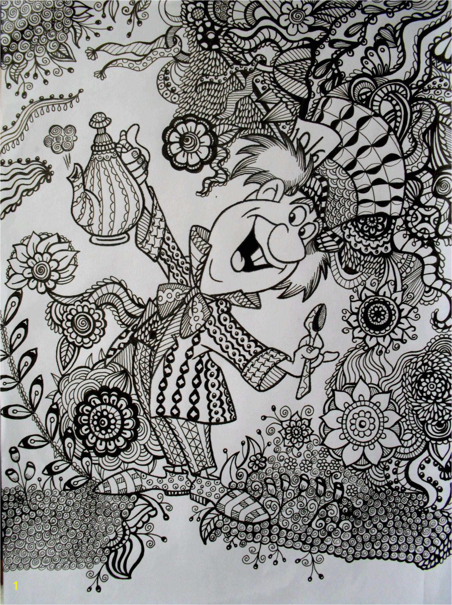 The Mad Hatter Coloring Pages To Print Coloring For Kids Adult Colouring In