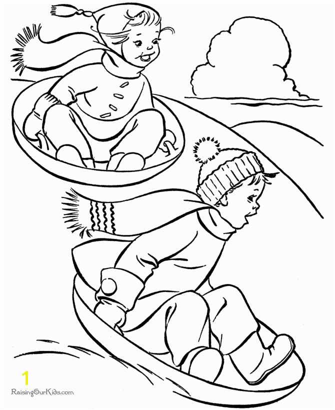 Sledding fun Free kids printable Christmas coloring pages