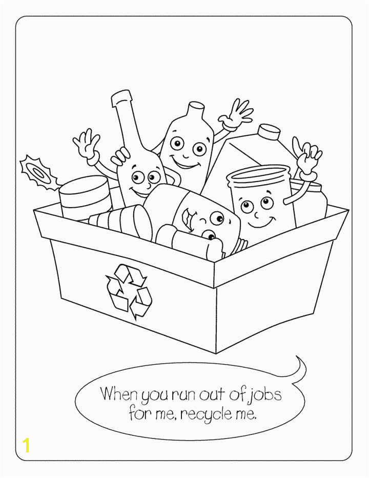 Recycling Coloring Page for Kids Free Printable Picture garbage pail