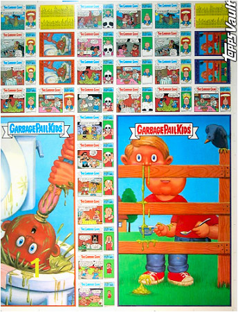 Uncut Garbage Pail Kids Sheets were auctioned off of eBay through the Topps Vault in the Summer of 2006 pictured below is a front and back image for the