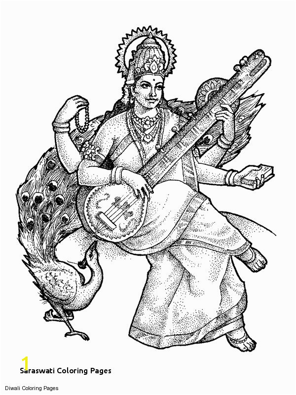Saraswati Coloring Pages Goddess Saraswati Sketch 600—865 Card Pinterest