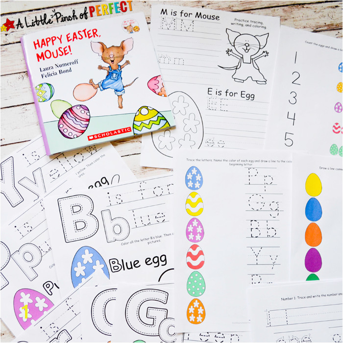 Happy Easter Mouse Free Printable Pack Printable includes coloring pages pre writing