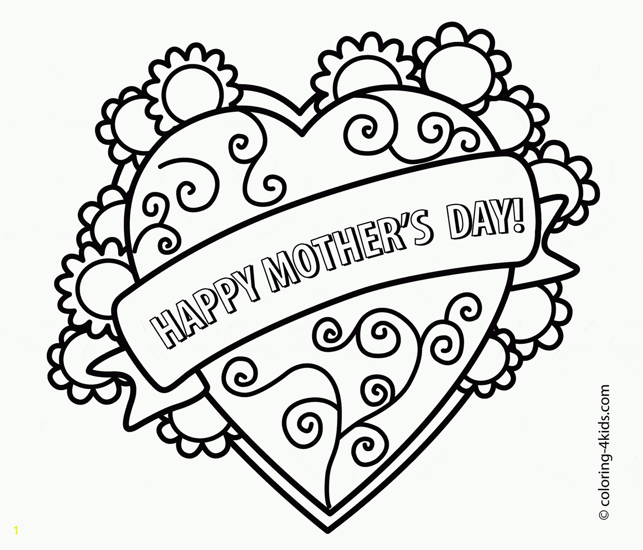 "Printable Mother s Day Coloring Pages at Wuppsy A floral heart with a banner that says ""Happy Mother s"