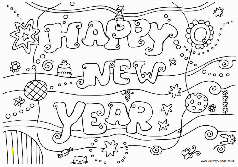 Happy New Year Colouring Design