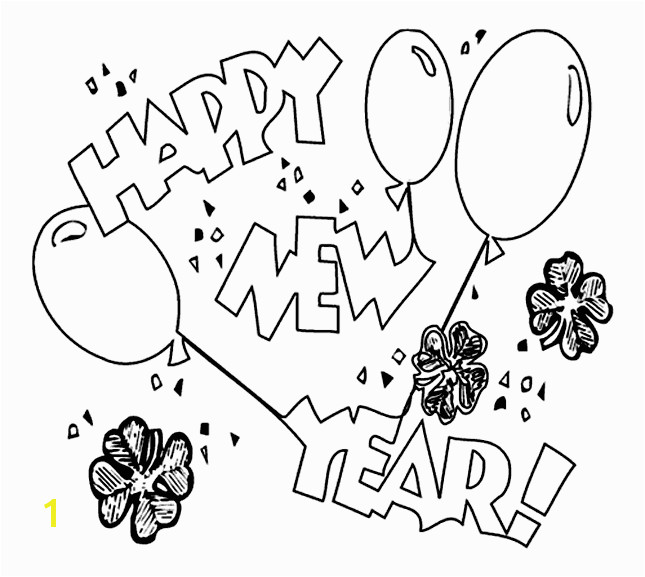 coloring pages of happy new year 2014 for kids