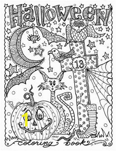 5 pages Instant Download Halloween Coloring pages Art to Color digital digi stamp witch cat moon fall