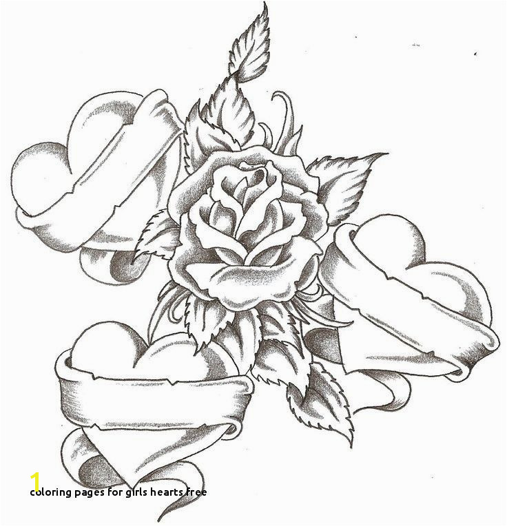 Coloring Pages Roses and Hearts Elegant Coloring Pages for Girls Hearts Free Heart Coloring Page