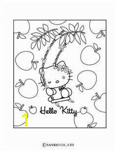 Hello Kitty and apples coloring page Apple Coloring Pages Cartoon Coloring Pages Free Coloring
