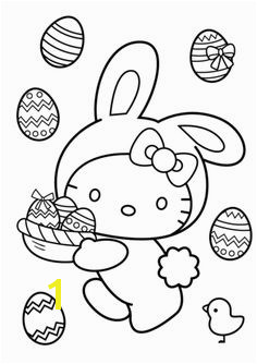 Hello Kitty Easter Bunny Coloring page Easter Bunny Colouring Bunny Coloring Pages Hello Kitty