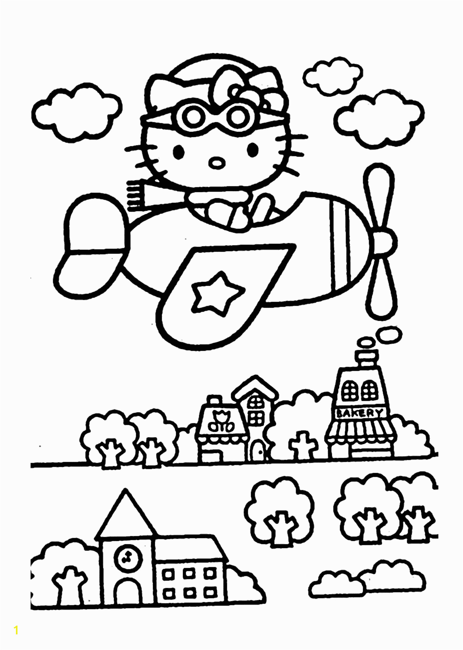 Hello Kitty on airplain – coloring pages for kids