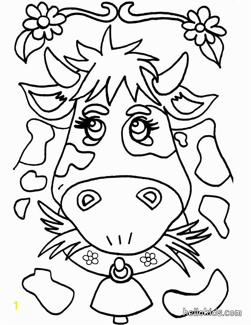 Go green and color online this Cow coloring page Cute and amazing farm animals coloring page for kids More coloring sheets on hellokids