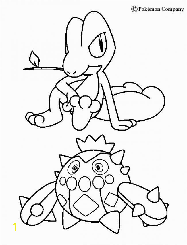 Treecko and Cacnea Pokemon coloring page More Grass Pokemon coloring sheets on hellokids