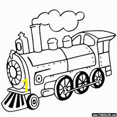 Steam Lo otive Train line Coloring Page