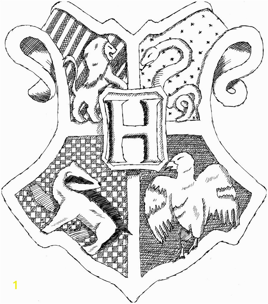 Coloring Pages Houses Hogwarts Crest Coloring Pages