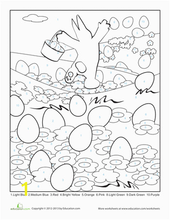 For kids that love to color FREE Worksheets Easter Color By Number Page