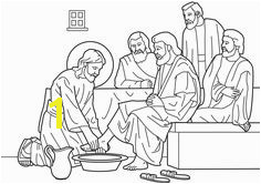Holy Thursday Lenten Coloring Page Jesus washes His Disciples feet