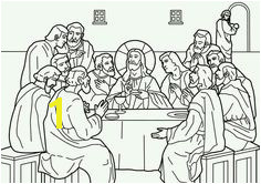 The Last Supper Maundy Thursday and the instituting of Holy munion with Judas leaving the room Bible coloring page