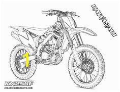 Get yer crayons for top 10 motorbike coloring pages fun Dirt bike printouts of FMX tricks Honda Kawasaki dirt bike parts