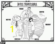 Don t for to print out some Hotel Transylvania coloring sheets featuring Drac Mavis Frankenstein Wayne and Murray