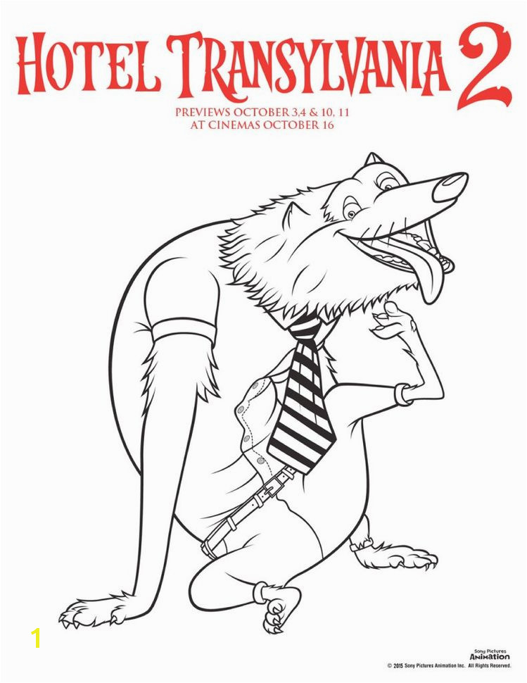 Hotel transylvania 2 colouring pages wayne the werewolf colouring sheet perfect for Halloween