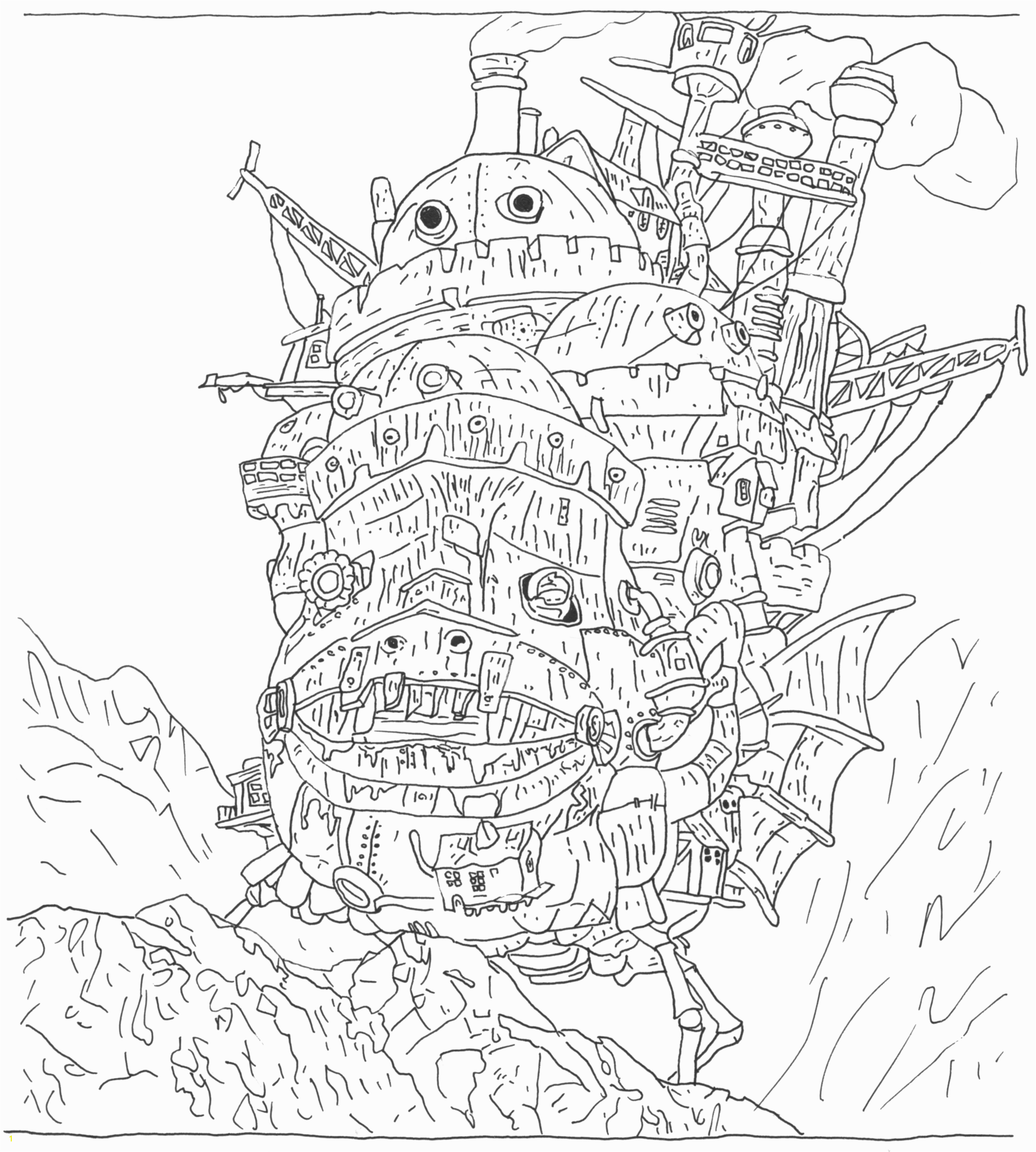 Growth Howl S Moving Castle Coloring Pages Drawing ClipartXtras