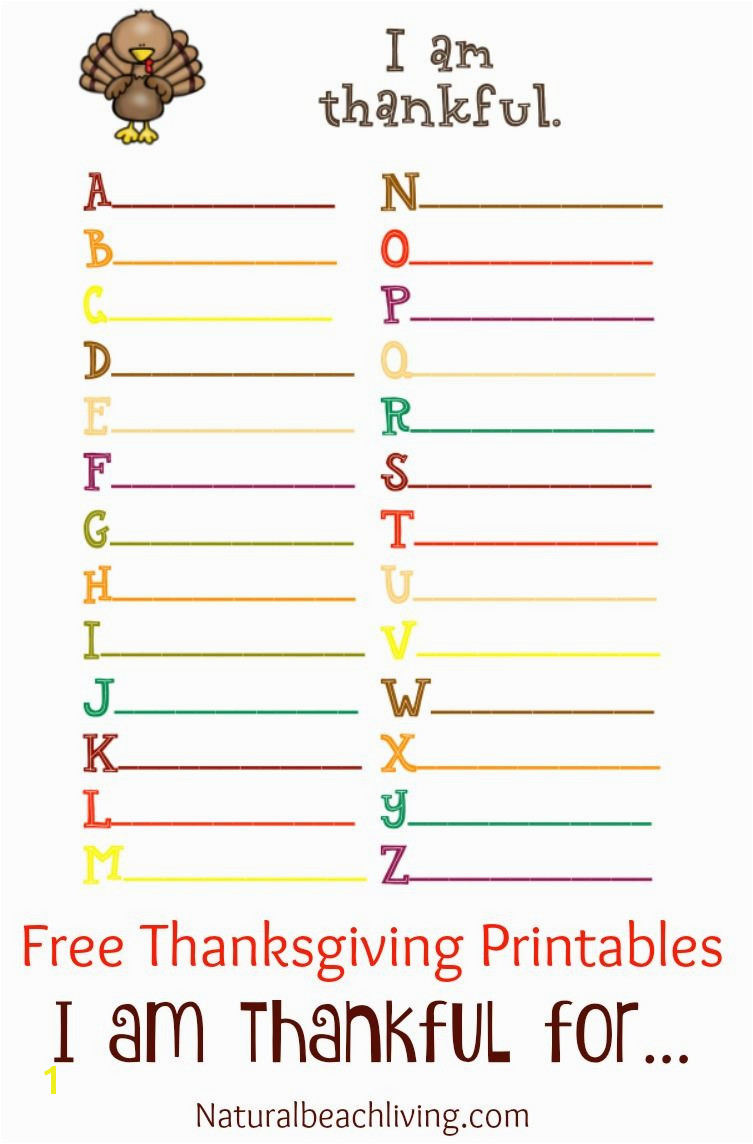 Thanksgiving Coloring and Activity Printables I am thankful for Thanksgiving ABC s Thankful tree Coloring pages Free Thanksgiving Printables for Kids