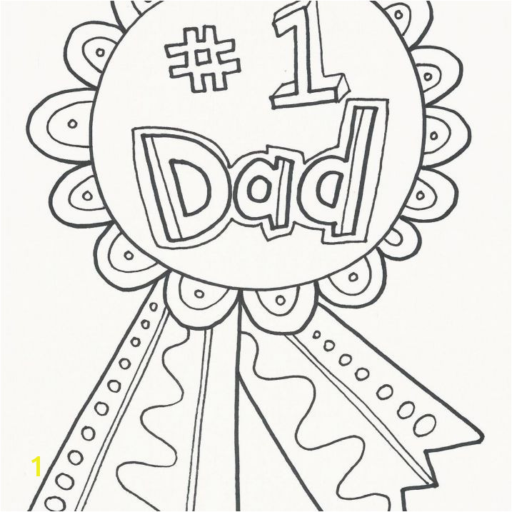 "A coloring page that says "" 1 Dad"" on a ribbon button"