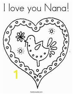 I love you Nana Coloring Page Cursive