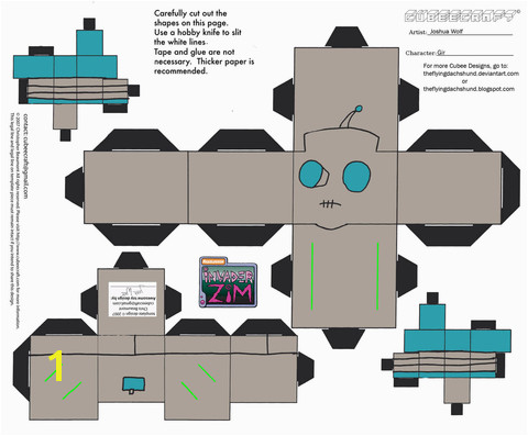 to see printable version of Gir Paper Toy Paper craft Categories Invader Zim Toys