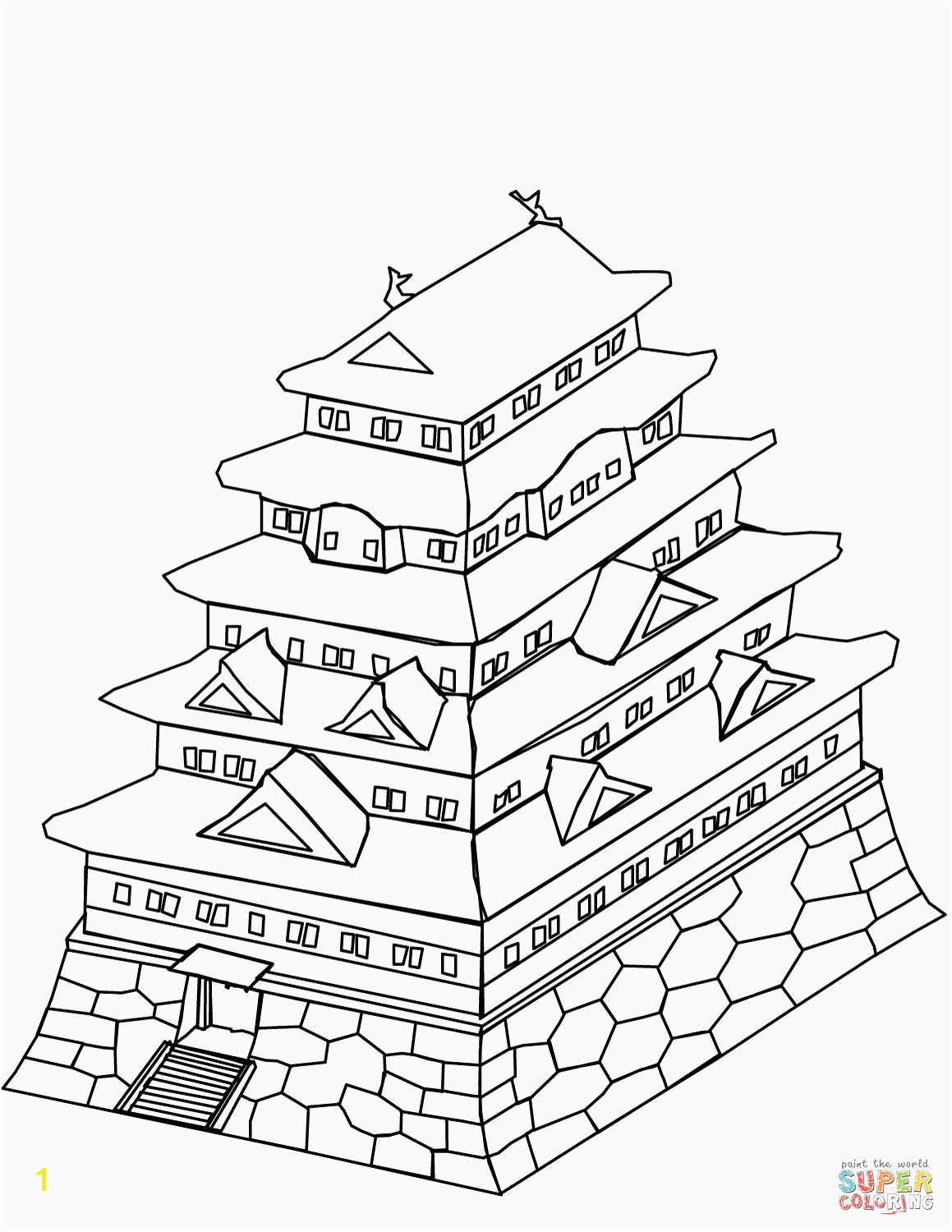 Japanese Castle Coloring Page Christmas Coloring Pages line Games