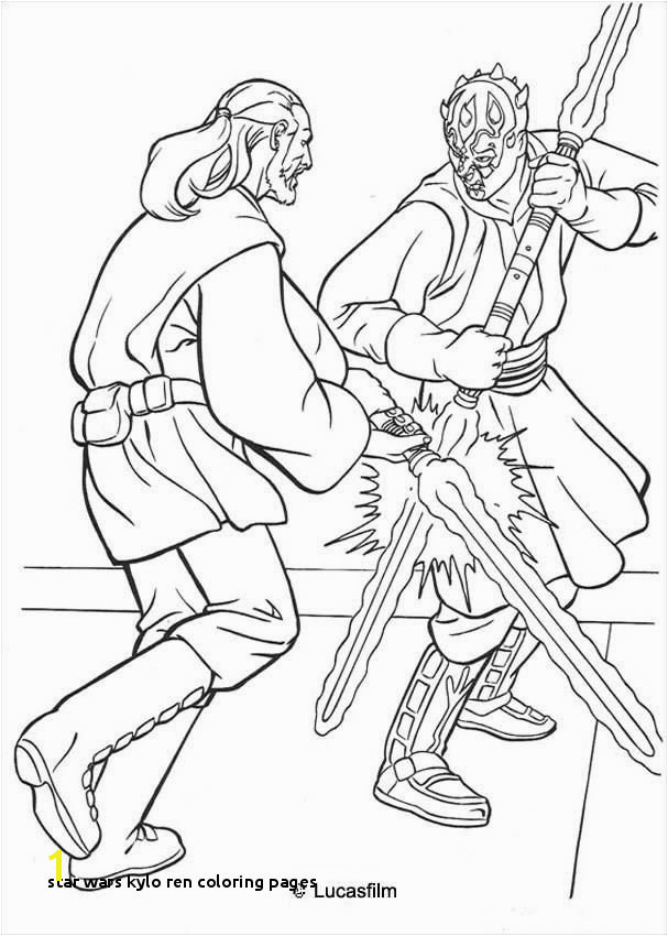 Star Wars Kylo Ren Coloring Pages Jedi Knight Qui Gon Jinn Fighting A Duel with Darth