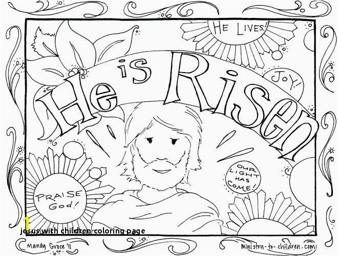 Jesus and the Children Coloring Page Lovely Jesus and Children