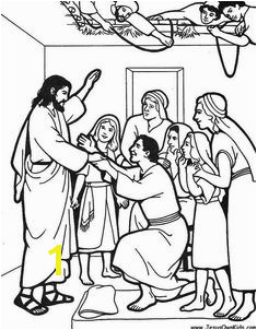 Jesus heals a paralyzed man Management Educational · Bible New Testament colouring pages