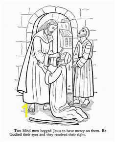 Jesus Teaches Coloring Pages Jesus heals the blind men