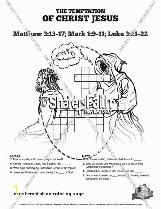 Jesus Temptation Coloring Page Sunday School Crossword Puzzles and Printable Crossword Puzzles