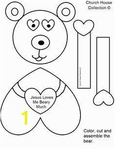 """Jesus Loves Me Beary Much"" Valentine s Day Craft For Kids In Sunday School or Children s Church Free Printable Template Patterns"