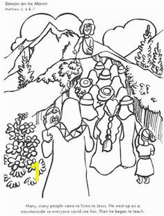 Sermon The Mount Bible coloring page for Kids to Learn bible stories