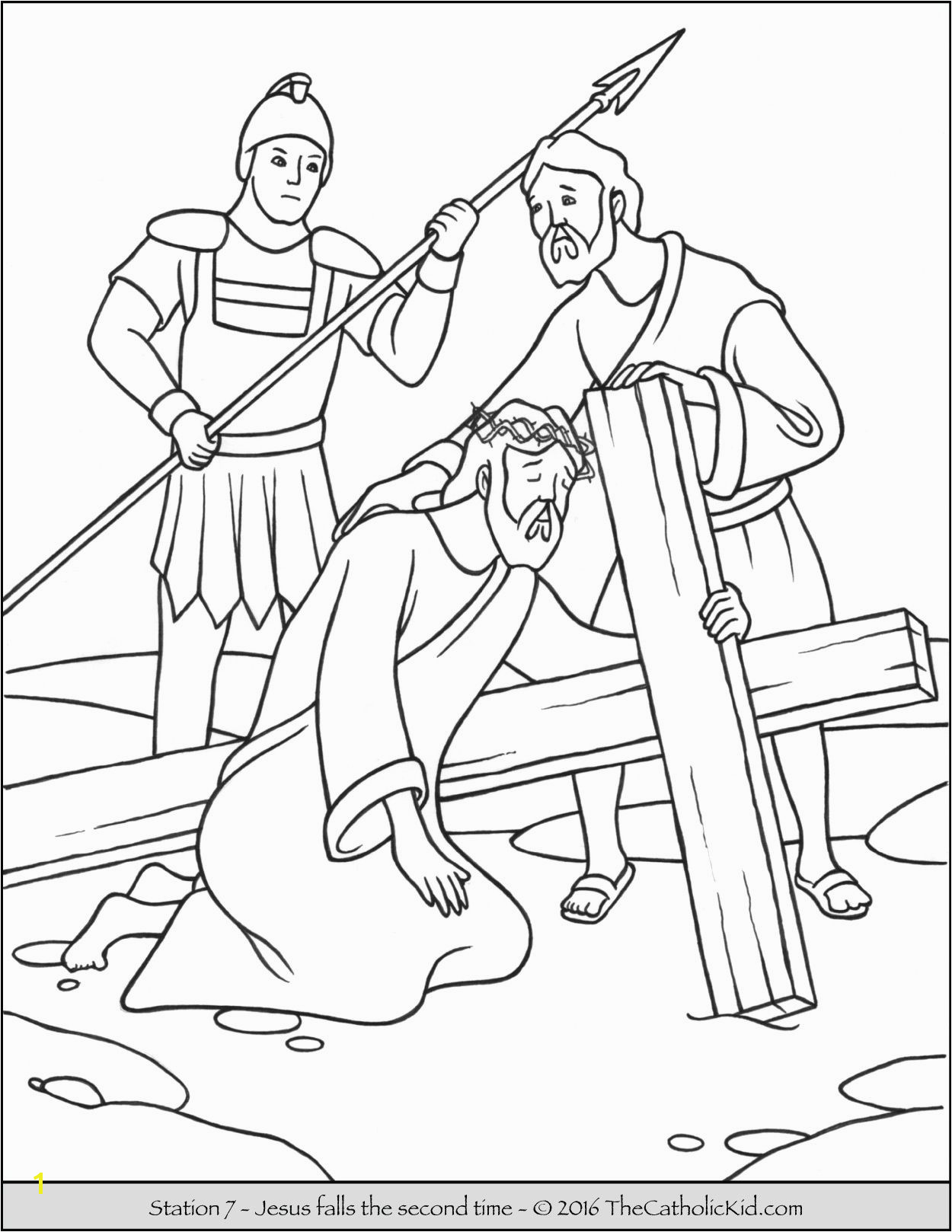 Stations of the Cross Coloring Pages 7 Jesus Falls the Second Time