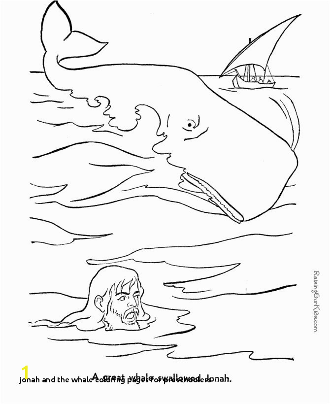 Jonah and Whale Bible coloring page to print for lapbook free