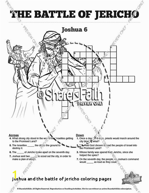 Joshua and the Battle Jericho Coloring Pages the Battle Jericho Sunday School Crossword Puzzles