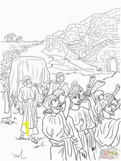 Joshua and the fall of Jericho Bible coloring pages Bible Stories For Kids