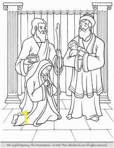 The 4th Joyful Mystery Coloring Page Presentation in the Temple Rosary Prayer Catholic Kids